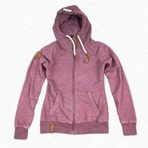 Naketano Hooded Full Zip Jacket Burgundy Maroon S